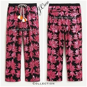 J.Crew Collection pink floral sequin black joggers